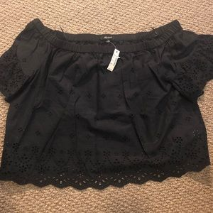 Madewell off the shoulder black blouse